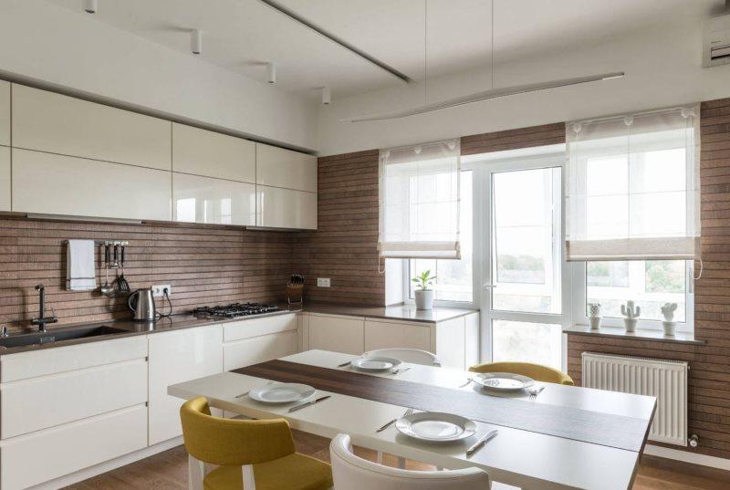 Белые поверхности кухонного гарнитура с ламинированными фасадами