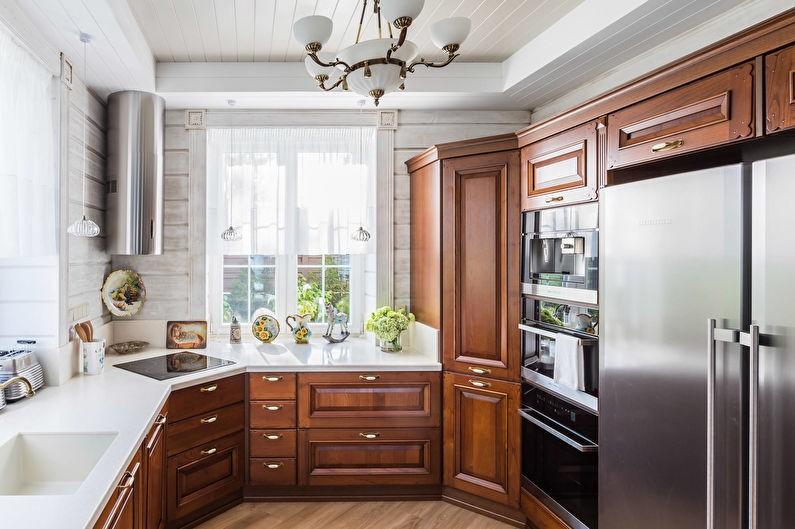 П-образная планировка маленькой кухни в стиле классики