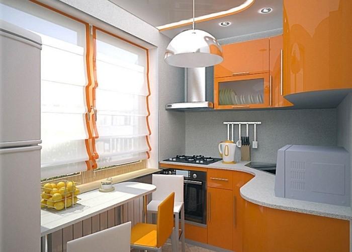 Оранжевая глянцевая кухня.