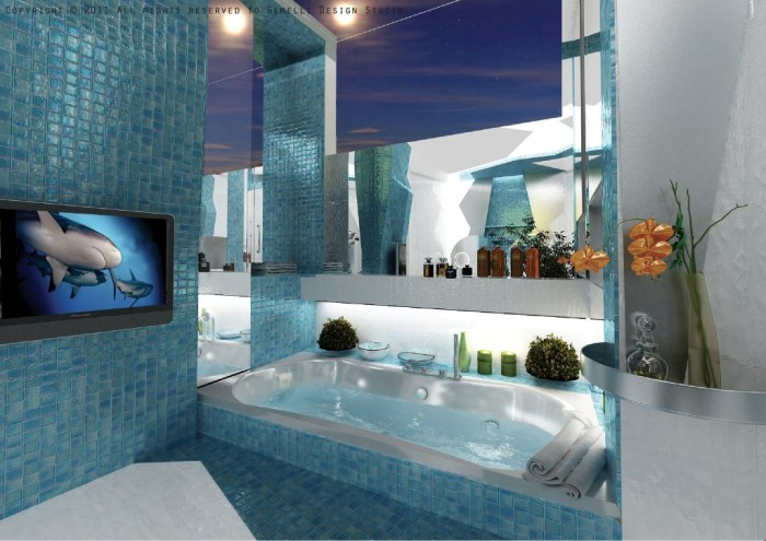 Цвета для ванной в морском стиле.