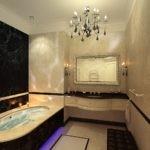 Черный мрамор в интерьере ванной