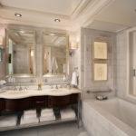 Два зеркала над умывальниками в ванной