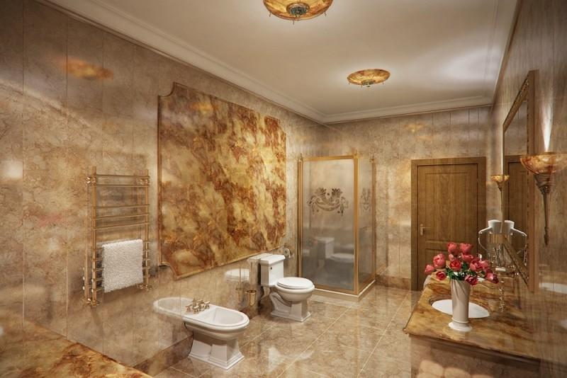 Дизайн большой ванной комнаты в стиле классики