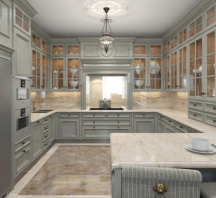 Мраморный фартук в классической кухне серого цвета