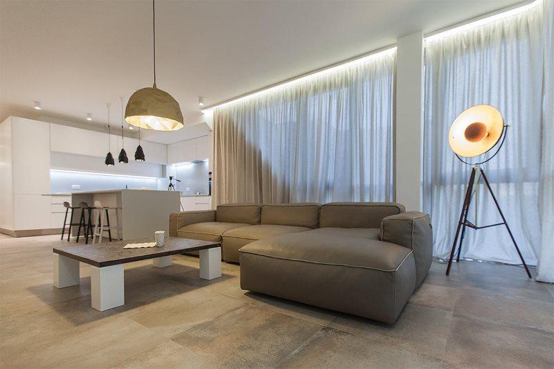 Освещение кухни-гостиной в стиле минимализма