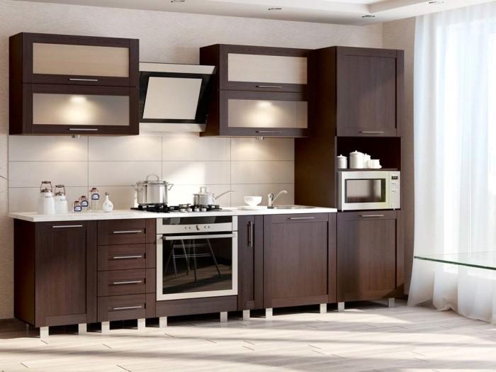 Линейная кухня коричневая.