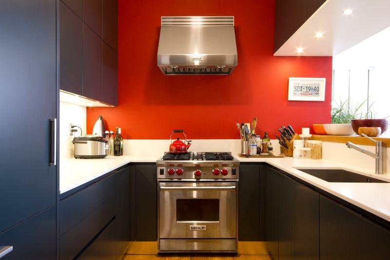 Плита из нержавейки на кухне с красной стеной