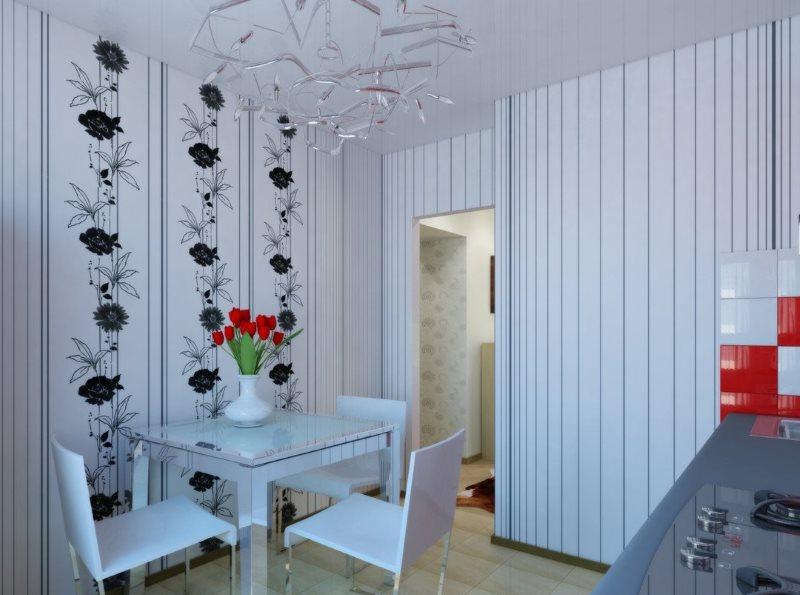 Тонкие вертикальные полоски на белых обоях в кухне
