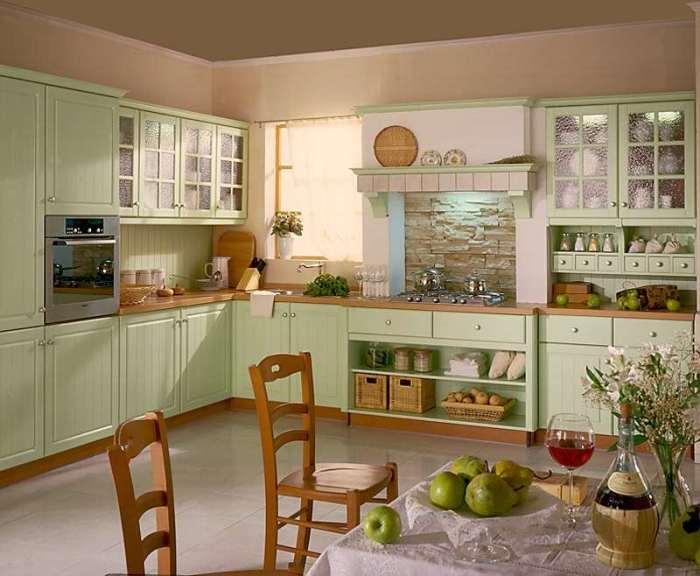 Фисташковая кухня дизайн.