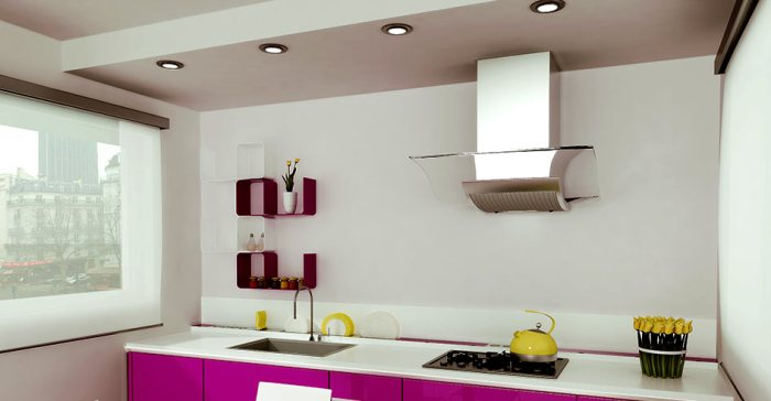 Кухня с натяжным потолком.