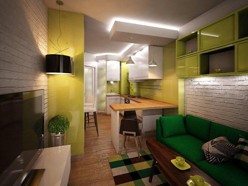 Потолочная подсветка в кухне-гостиной