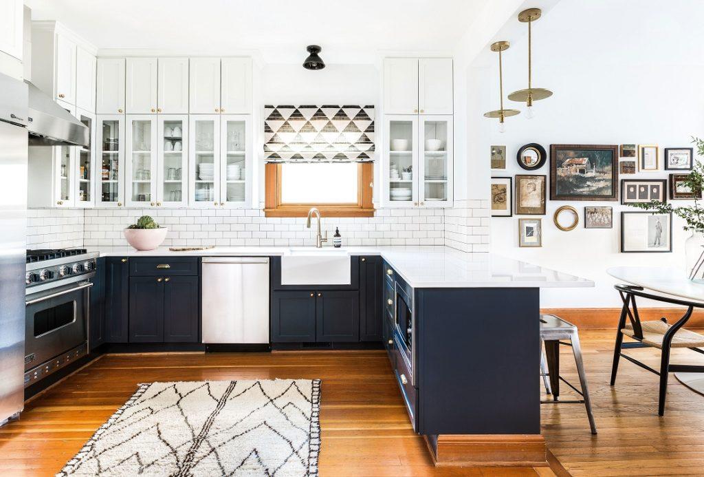 П-образная планировка кухни-гостиной