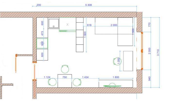 План кухни-гостиной после перепланировки