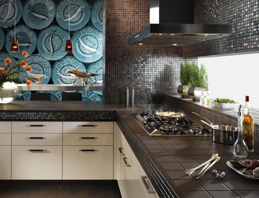 Стеклянный фартук с подсветкой в современной кухне