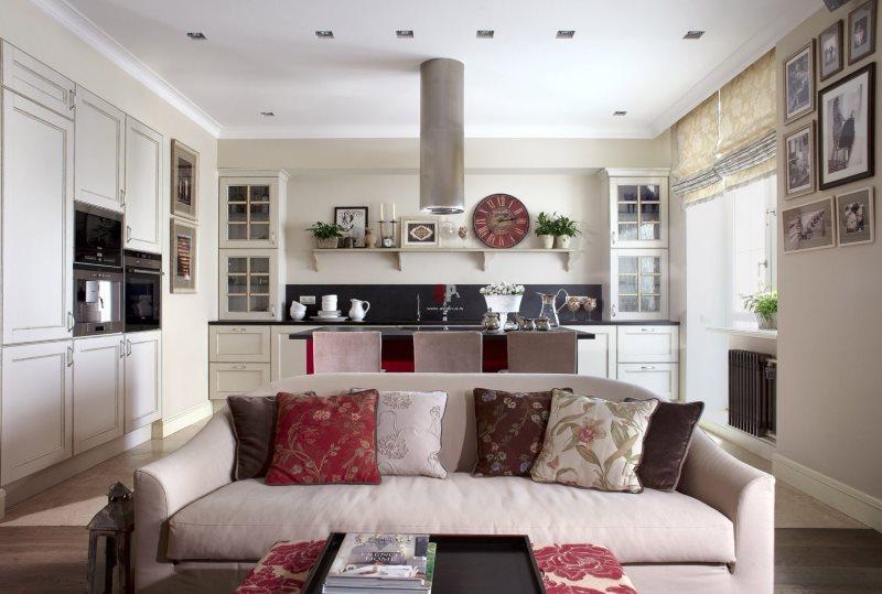 Интерьер кухни-гостиной прямоугольной формы