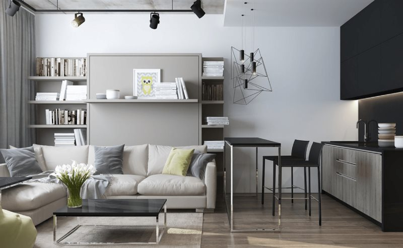 Угловой диван в кухне-гостиной с барной стойкой