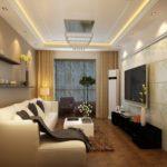 Прямой диван с обивкой светлого цвета
