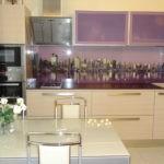 Панорама ночного города на кухонном фартуке