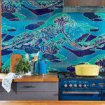 Изображение морской воды на стекле кухонного фартука