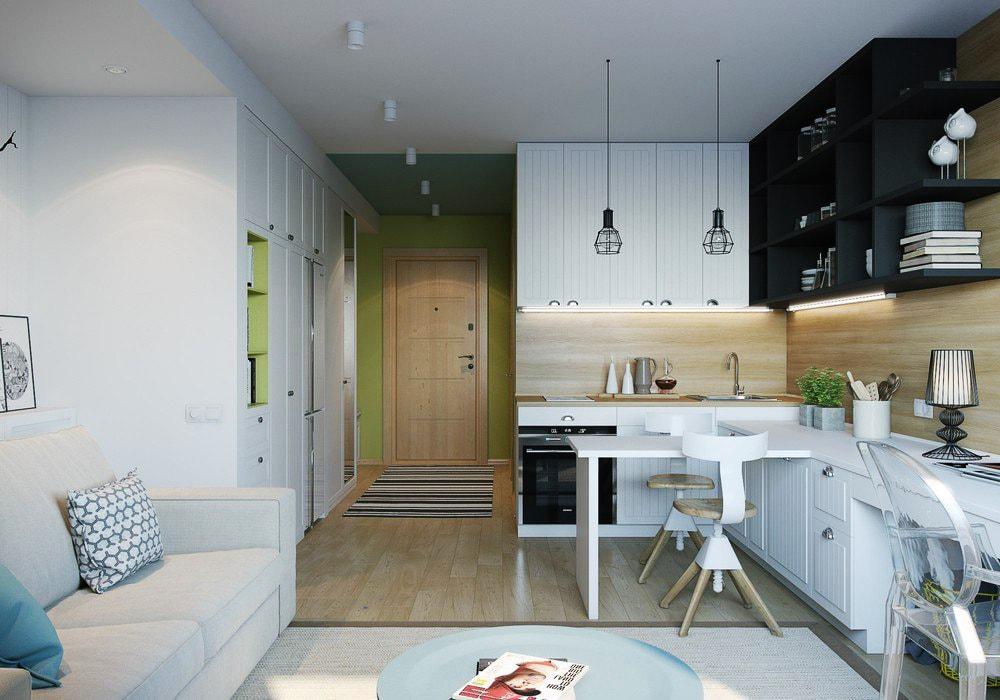 Организация рабочей зоны в прямоугольной кухне-гостиной