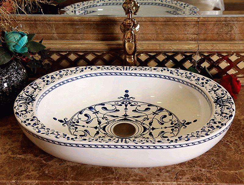Накладная раковина из керамики с восточной росписью