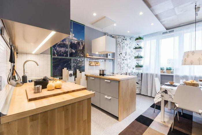 Разноуровневый потолок на кухне.