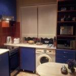 Синий гарнитур и стиральная машинка