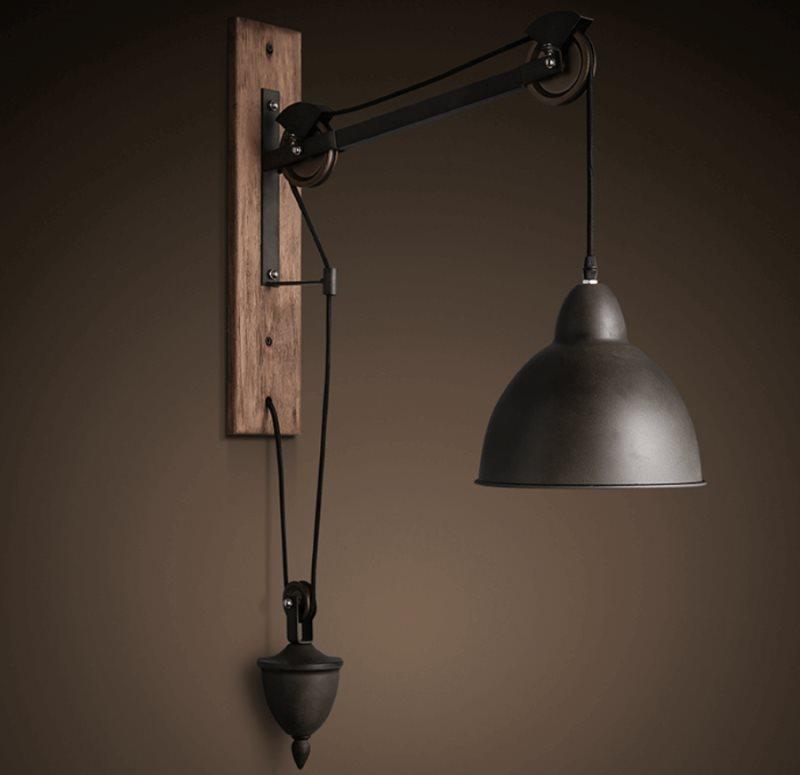 Винтажный светильник с регулировкой высоты подвеса