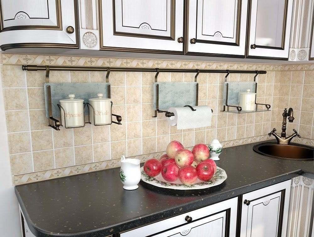 Рейлинг на фартуке кухни в стиле современной классики