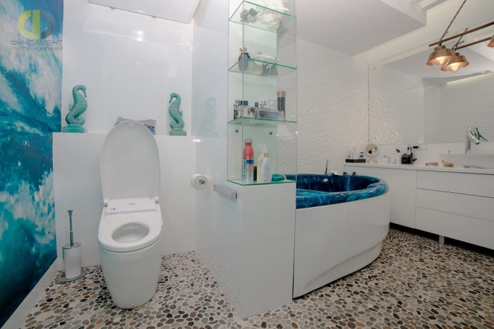 Облицовка пола в ванной.