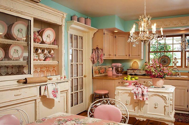 Розовый цвет в интерьере кухни стиля прованс