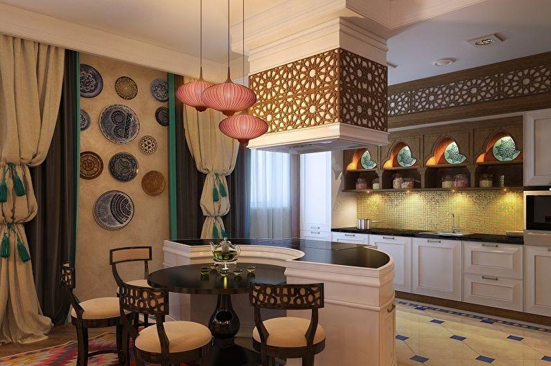 Дизайн кухни в марокканском стиле с розовой отделкой