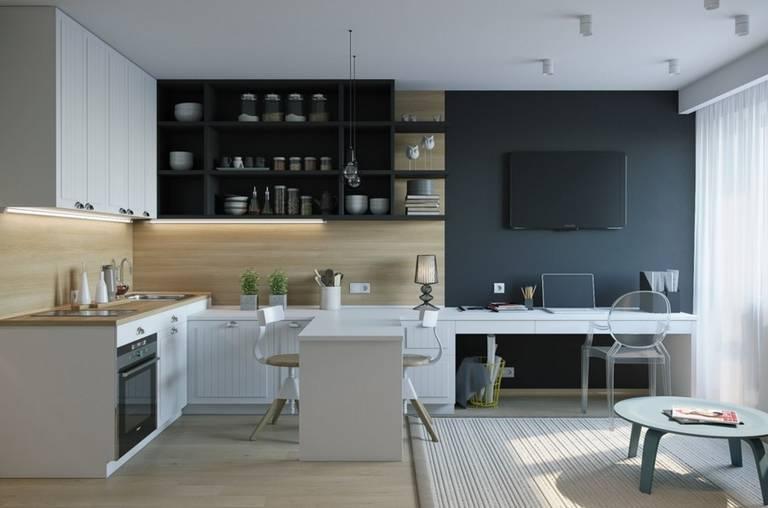 Пример зонирования кухни-гостиной с помощью цвета