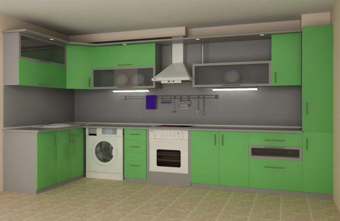 Серо зеленая кухня.
