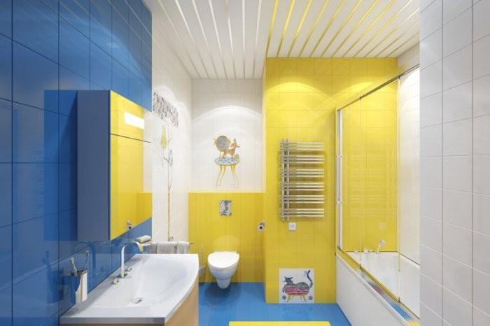 Ванная желто-синяя.