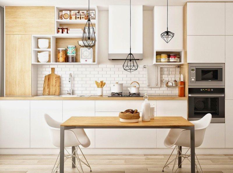 Линейная кухня в скандинавском стиле с обеденной зоной