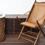 Складной стул с мягким сидением и кожаной обивкой