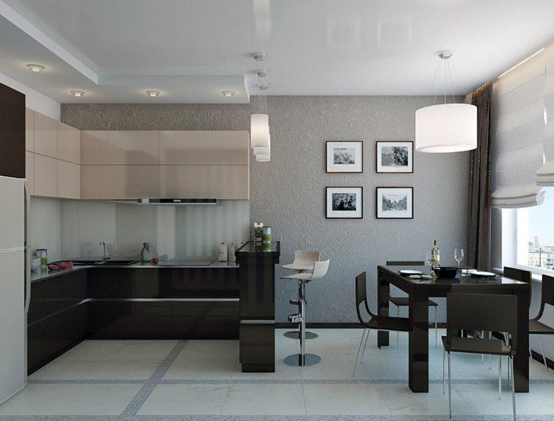 Декорирование картинами серой стены кухни гостиной