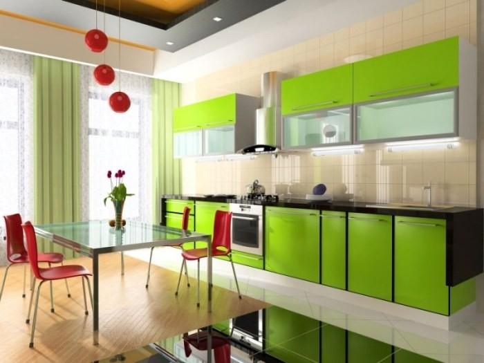 Зеленый оттенок на кухне.