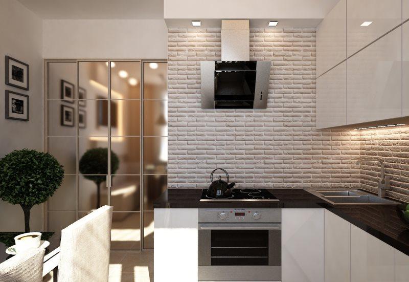 Наклонная вытяжка в интерьере современной кухни