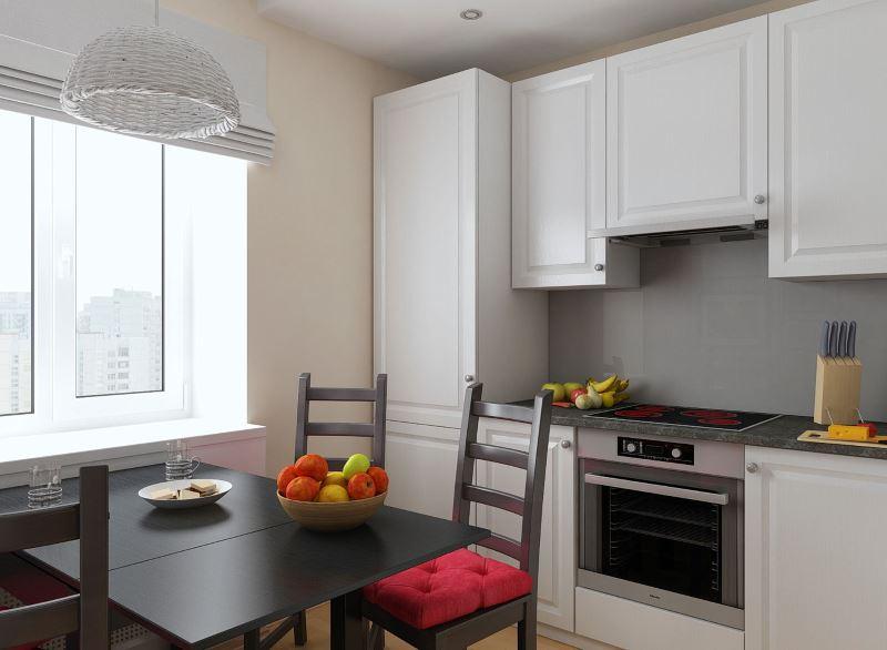 Обеденная зона кухни 3 на 3 метра в городской квартире