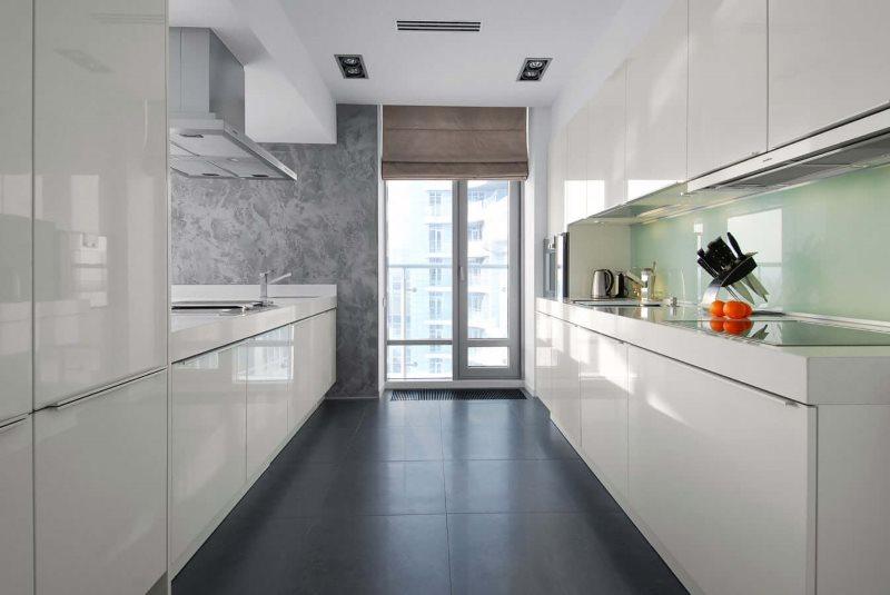 Узкая кухня в стиле хай-тек с серым полом
