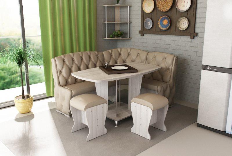 Дизайн кухонного уголка с мягким диванчиком