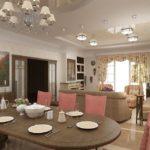 Розовые спинки кухонных стульев