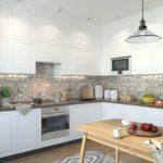 Угловой гарнитур со шкафами до потолка