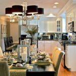 Кухонная люстра с черными плафонами