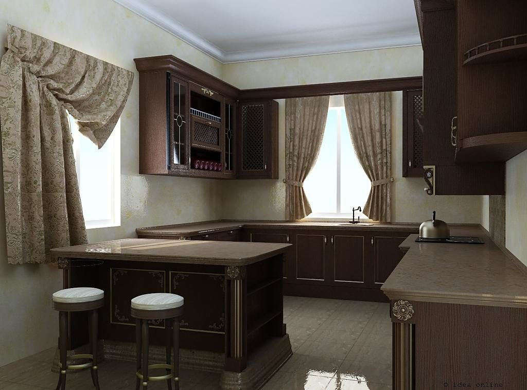 Коричневая мебель в кухне со светлыми стенами
