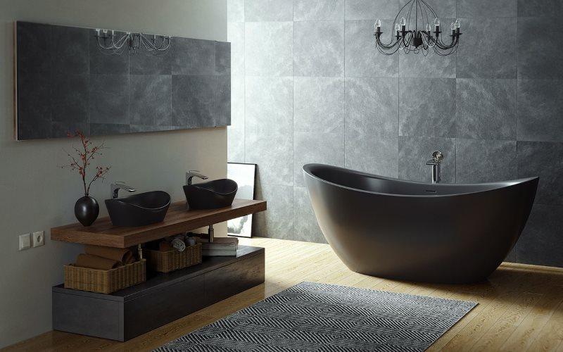 Темная мраморная плитка в отделке ванной комнаты