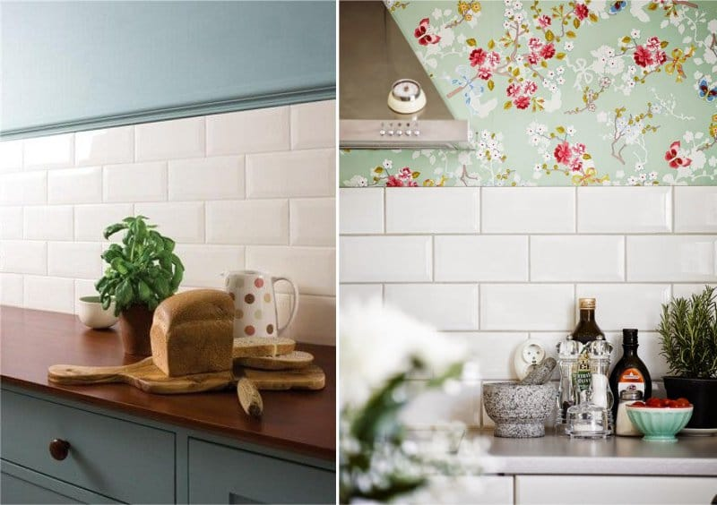 Примеры укладки плитки кабанчик на фартуке кухни