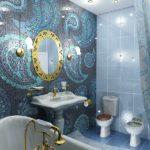 Роспись мозаикой стен в современной ванной